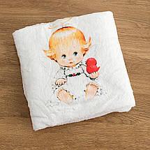 Крижмо для дитини на хрещення з малюнком Ангелочок мікрофібра, фото 3