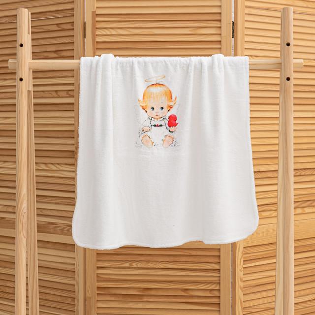 Крижмо для дитини на хрещення з малюнком Ангелочок мікрофібра