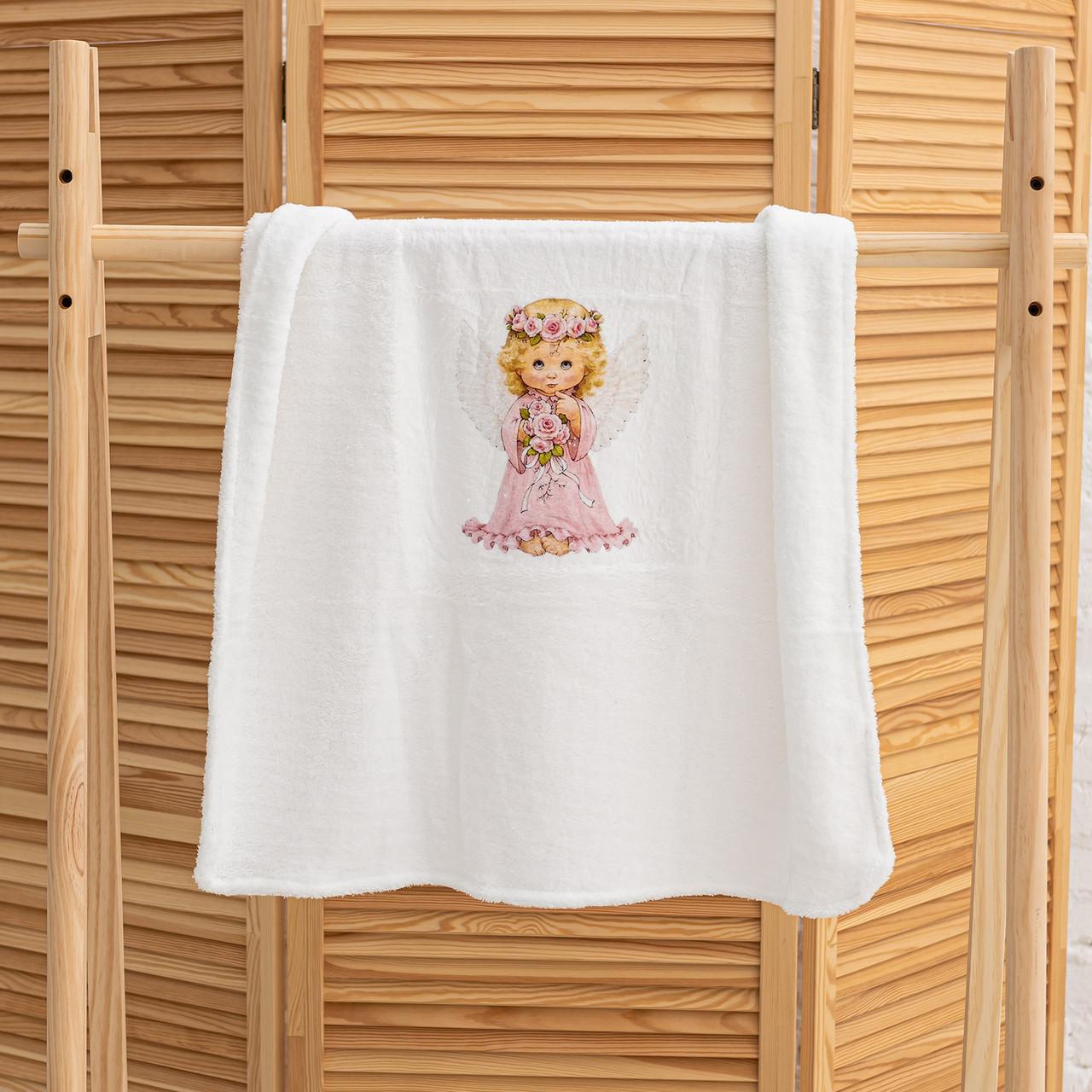 Крижмо для дівчинки на хрещення з малюнком Ангелочок мікрофібра