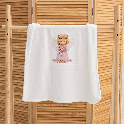 Крижмо для дівчинки на хрещення з малюнком Ангелочок мікрофібра, фото 2