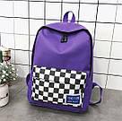 Рюкзак с накладным карманом в шахматную клетку., фото 5