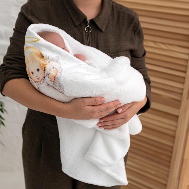 Крижма для хрещення з малюнком Ангелочок мікрофібра