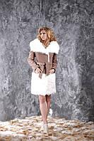 Пальто из кашемира цвета какао и меха калгана