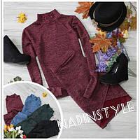Теплый костюм из ангоры кофта туника + юбка лепестки
