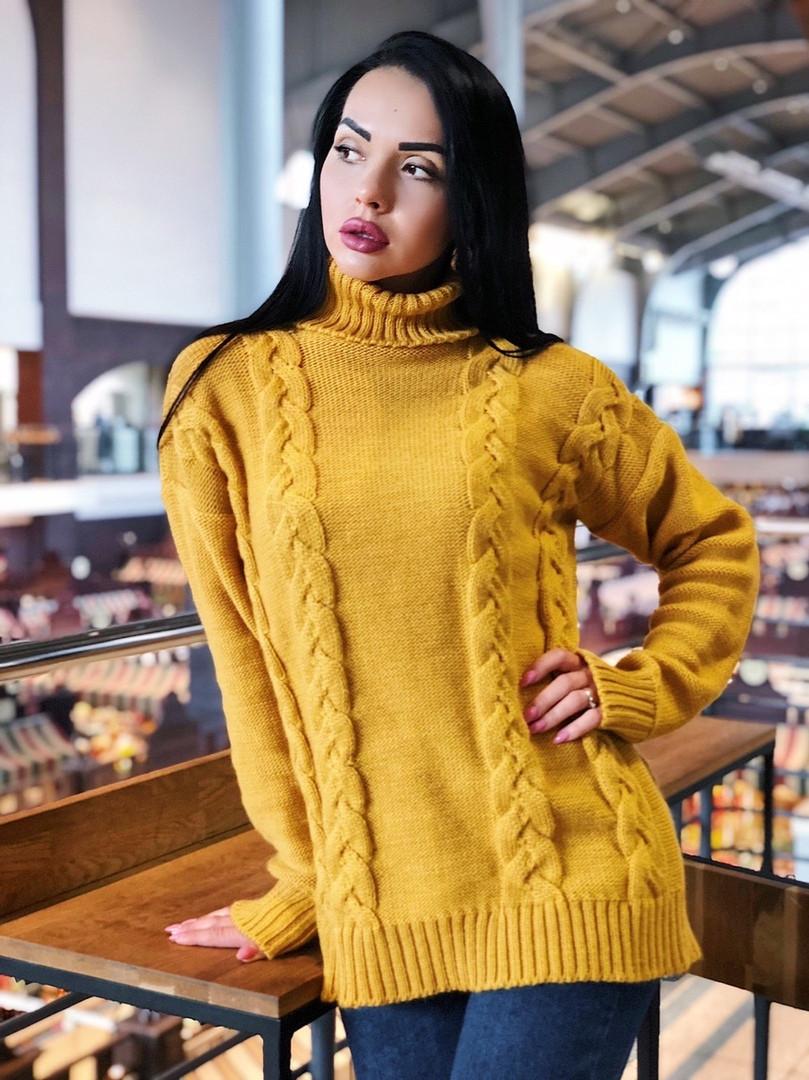 Женский удлиненный свитер с горлом
