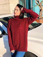 Женский удлиненный свитер с горлом, фото 3