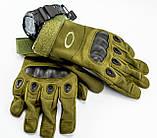 Тактические перчатки полнопалые, олива, фото 4
