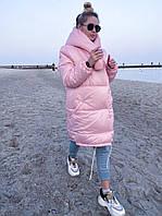 Куртка зимняя женская чёрная, белая, нежно-розовая, фисташка, серебро, золото, горчица