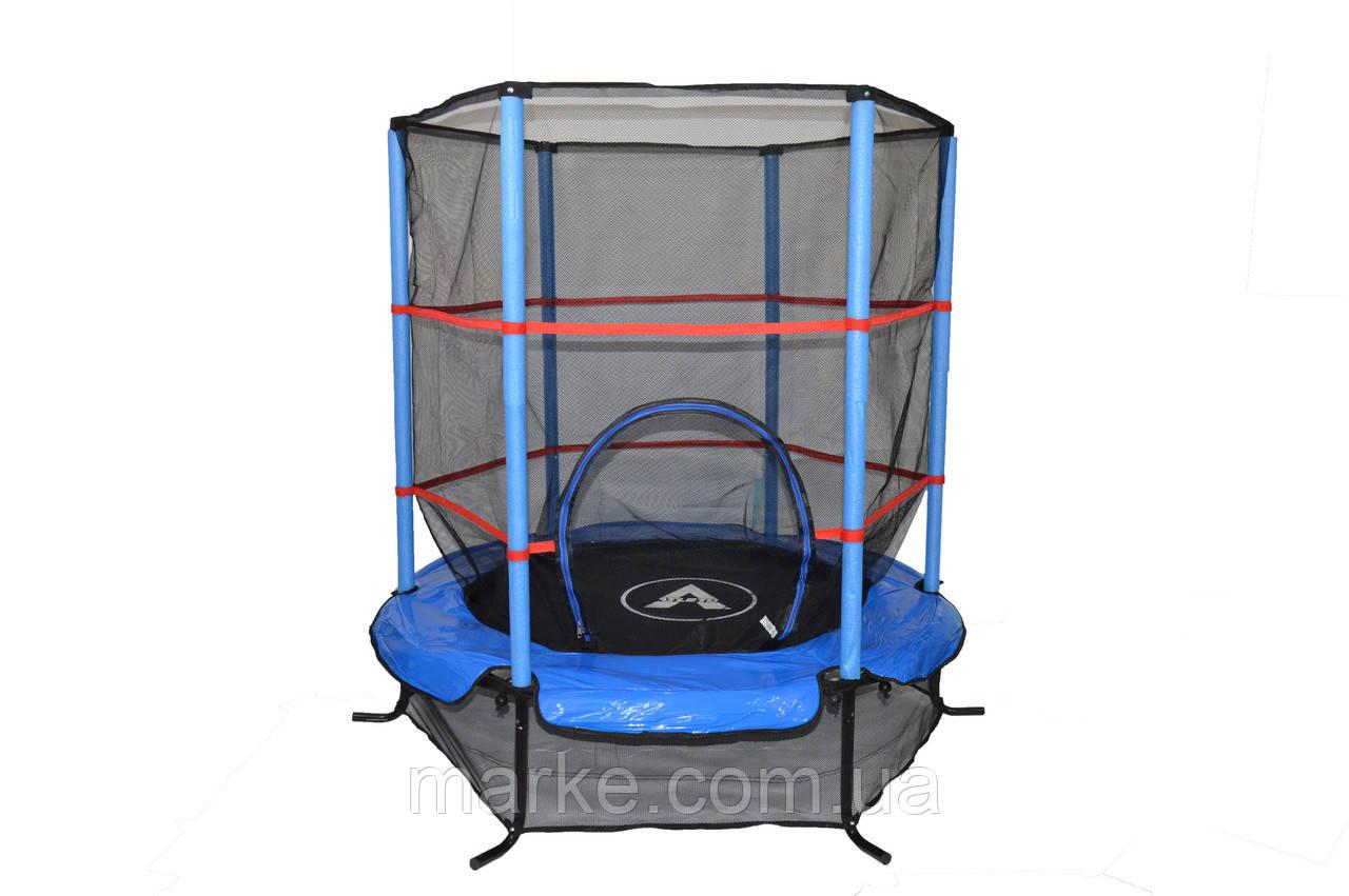 Батут Атлето синій Atleto 140 см 4,5ft діаметр із внутрішньою сіткою спортивний для дітей