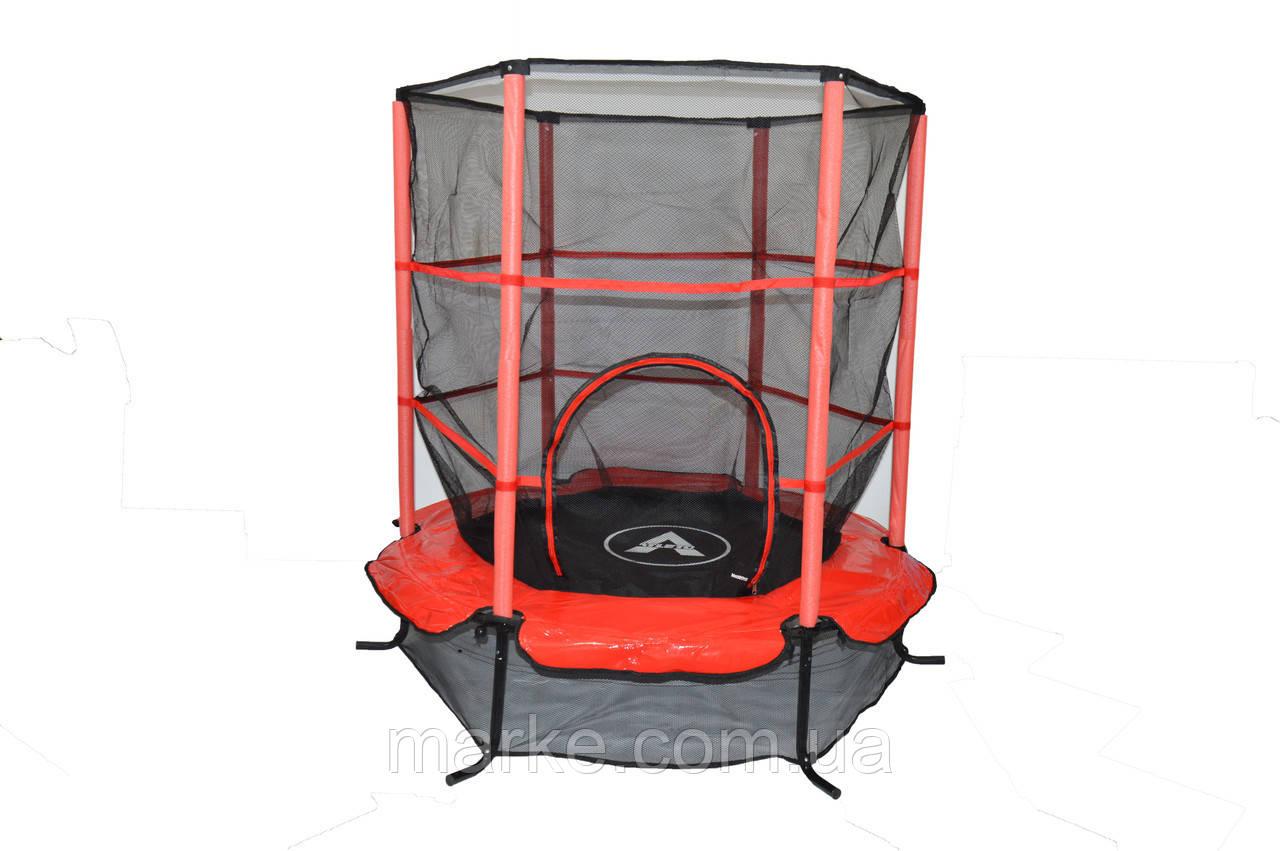 Батут Атлето червоний 140 см 4,5ft діаметр із внутрішньою сіткою спортивний для дітей