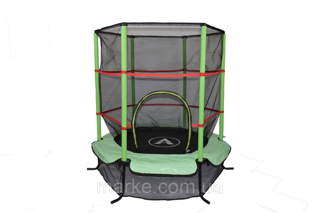 Батут Атлето зелёный Atleto 140 см 4,5ft диаметр с внутренней сеткой спортивный для детей