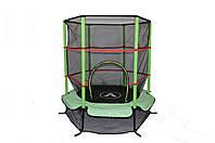 Батут Атлето зелёный Atleto 140 см 4,5ft диаметр с внутренней сеткой спортивный для детей, фото 1