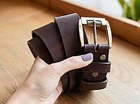 Классический коричневый кожаный мужской ремень ручной работы_подарок мужчине