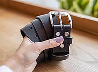 Классический черный кожаный мужской ремень ручной работы_подарок мужчине