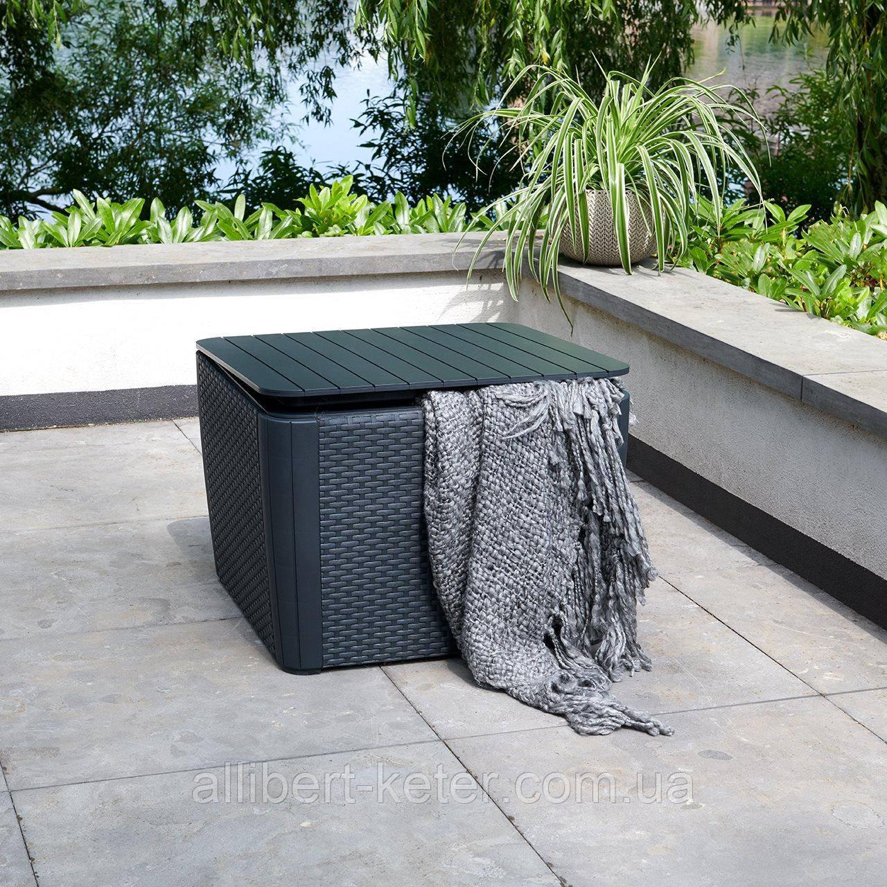 Стол садовый уличный Allibert Luzon Plus Flat Waves Table из искусственного ротанга