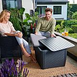 Стол садовый уличный Allibert Luzon Plus Flat Waves Table из искусственного ротанга, фото 3