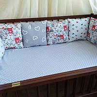 Бортики защита в детскую кроватку подушки котики