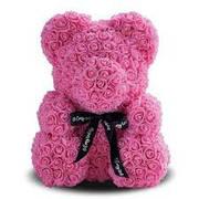 Опт Мишка из роз 25 см - Розовый
