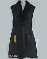 Жилетка чорна жіноча з штучного хутра та замші 46 розмір
