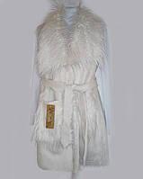 Жилетка біла жіноча з штучного хутра та замші 44 розмір
