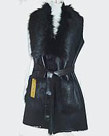 Жіноча жилетка чорна з штучного хутра та замші 42 розмір