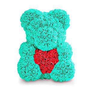 Мишка из роз 40 см - Бирюзовый
