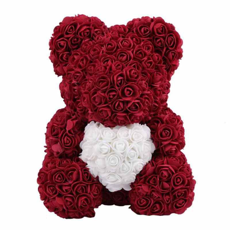 Мишка из роз 40 см - Бордовый