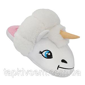 Плюшевые домашние тапочки игрушки женские Кигуруми Единорог Белые 91536-ТС  Family look