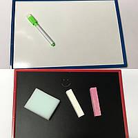 Доска детская магнитная (20,7*30,8см) + мелки, мочалка, маркер