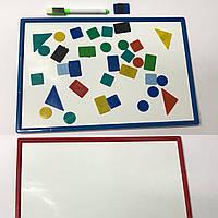 Магнитная доска (20.7см*30.8см)+магнитные геометрические фигуры, маркер