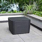 Стол садовый уличный Allibert Luzon Plus Flat Waves Table из искусственного ротанга, фото 10