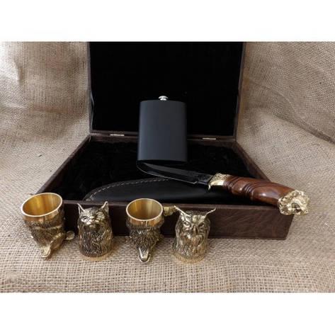 """Стопки-перевертні в подарунок дядька, дідуся, батька, хрещеному, куму """"4MAN"""", в кейсі 4шт. з ножем і флягою, фото 2"""
