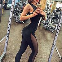 Размер 46-48. Черный женский комбинезон для спорта, спортивная одежда для фитнеса и йоги с сеткой
