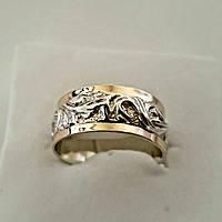 Серебряное кольцо с золотом и цирконом  №36о, фото 1