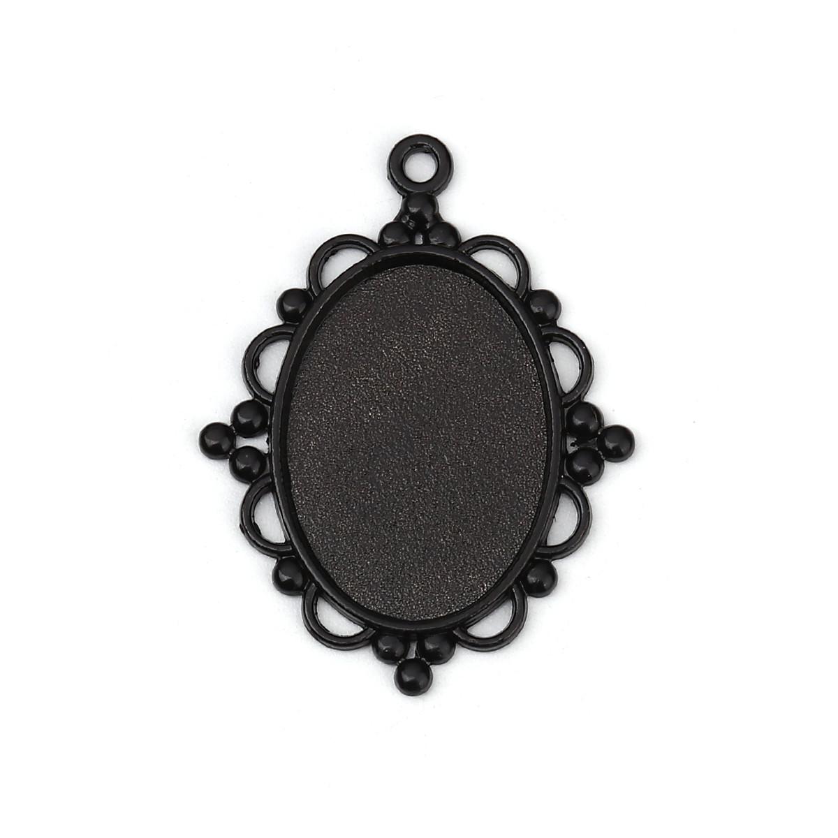 Підвіска Овальна, Колір: чорний, Основа для кабошонов 25 мм x 18 мм, 3.9 см x 3 см