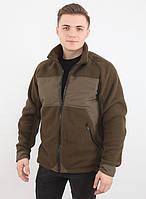 Теплая флисовая куртка темно-оливковая (размеры S-3XL)