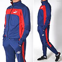 Мужской спортивный костюм Puma (пума) / Трикотаж пике (лакост) / Размеры: 46-52 - темно-синий с красным