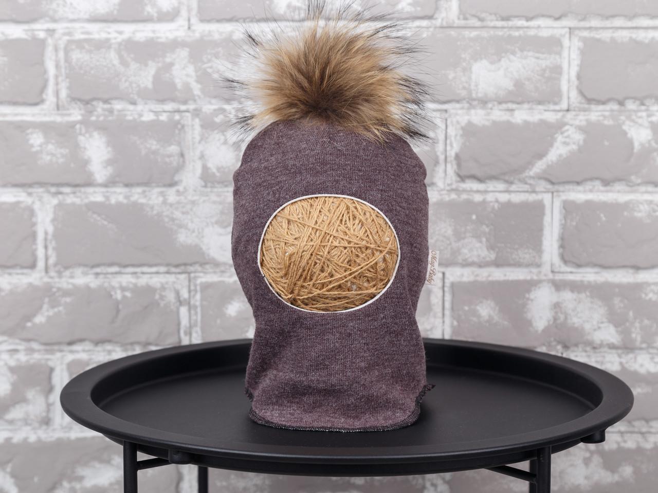 Шапка-шлем с бубоном из чернобурки, коричневый меланж