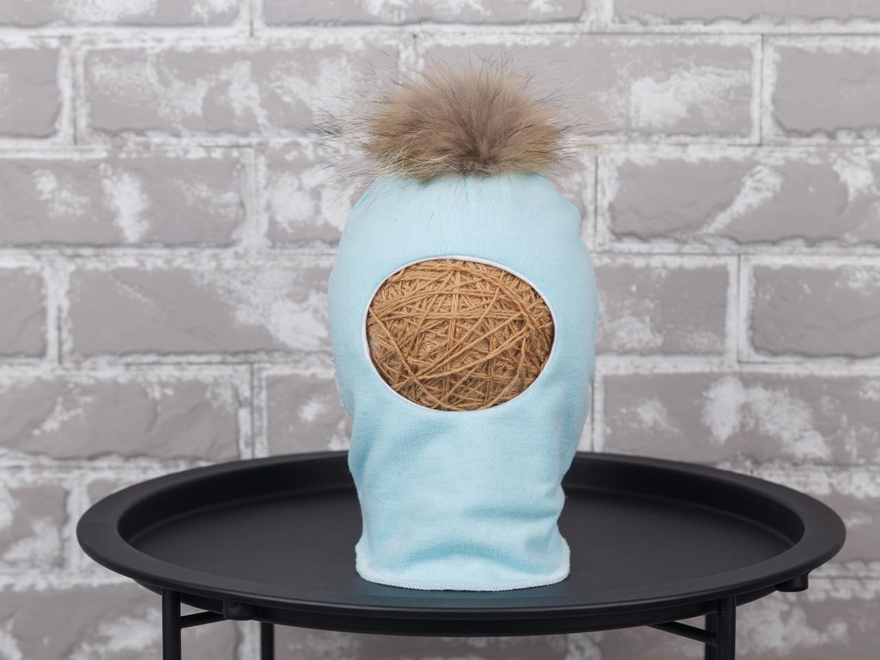 Шапка-шлем с бубоном из чернобурки, мята