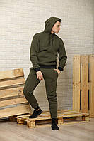 Теплый мужской спортивный костюм хаки (оливковый) / спортивные штаны и худи ОСЕНЬ-ЗИМА