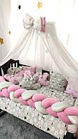 """Детское постельное белье в кроватку """"Косичка"""", комплект постельного в детскую кроватку"""