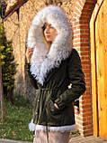 Хаки куртка парка с натуральным мехом белой арктической лисы на капюшоне, фото 2