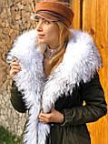 Хаки куртка парка с натуральным мехом белой арктической лисы на капюшоне, фото 3