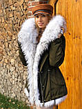 Хаки куртка парка с натуральным мехом белой арктической лисы на капюшоне, фото 4