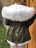 Хаки куртка парка с натуральным мехом белой арктической лисы на капюшоне, фото 5