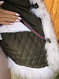 Хаки куртка парка с натуральным мехом белой арктической лисы на капюшоне, фото 6