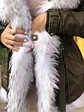 Хаки куртка парка с натуральным мехом белой арктической лисы на капюшоне, фото 7