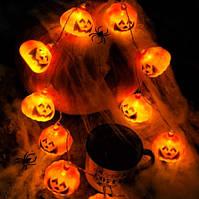 Гирлянда Хэллоуин Тыквы 12 лампочек Теплый Белый, 500 см, черный провод, переходник (1698-11)