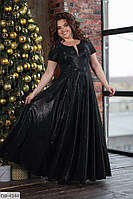 """Черное длинное расклешенное платье """"царевна"""" больших размеров 50,52,54,56"""