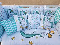 """Детское постельное белье в кроватку """"Принт"""", комплект постельного белья в кроватку 7 предметов"""